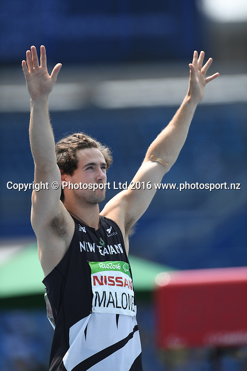 Liam Malone (NZL) wins Gold in the Men's 400m - T44.<br /> Athletics - Rio 2016 Paralympics  Games <br /> September 15, 2017<br /> Olympic Stadium, Rio de Janeiro, Brasil (Brazil)<br /> Copyright photo: Courtney Crow / www.photosport.nz