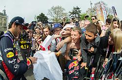 Formula 1 driver Daniel Ricciardo (AUS) of Infiniti Red Bull Racing with fans at Spielberg Red Bull Showrun, on April 22, 2015 in Rathausplatz, Vienna / Wien, Austria. Photo by Vid Ponikvar / Sportida