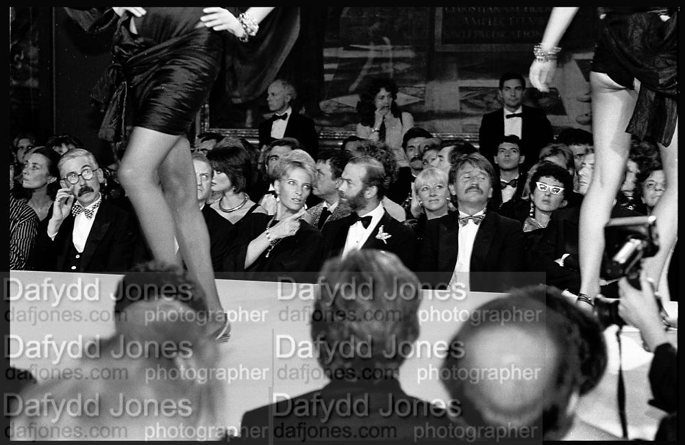 Sir Roy strong; Princess Michael of Kent; Prince mIchael of Kent; Roberto Devorik, Versace fashion show, V & A, London. 2 October 1985.