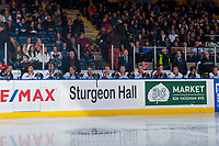 KELOWNA, CANADA - OCTOBER 21: The Portland Winterhawks' stand on the bench at the start of the game against the Kelowna Rockets on October 21, 2017 at Prospera Place in Kelowna, British Columbia, Canada.  (Photo by Marissa Baecker/Shoot the Breeze)  *** Local Caption ***