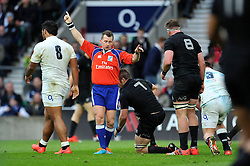 Referee Nigel Owens awards England a penalty for a breakdown offence by New Zealand - Photo mandatory by-line: Patrick Khachfe/JMP - Mobile: 07966 386802 08/11/2014 - SPORT - RUGBY UNION - London - Twickenham Stadium - England v New Zealand - 2014 QBE Internationals