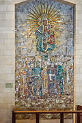 Religious artwork. Mosaic of the Madonna and Child from Poland, at the Basilica of the Annunciation, Israel, Nazareth