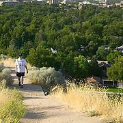 Idaho, Ada County, Boise, Hulls Gulch, Camelsback Park, skyline, trail, female, hiker