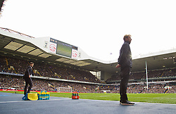 LONDON, ENGLAND - Saturday, October 17, 2015: Liverpool's manager Jürgen Klopp and Tottenham Hotspur's manager Mauricio Pochettino in the technical area during the Premier League match at White Hart Lane. (Pic by David Rawcliffe/Kloppaganda)