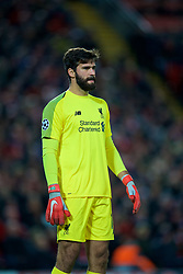 LIVERPOOL, ENGLAND - Wednesday, October 24, 2018: Liverpool's goalkeeper Alisson Becker during the UEFA Champions League Group C match between Liverpool FC and FK Crvena zvezda (Red Star Belgrade) at Anfield. (Pic by David Rawcliffe/Propaganda)