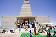 18 MAY 2008 -- MARICOPA, AZ: People walk into the new Hindu temple in Maricopa, AZ, Sunday. More than 3,000 Hindus from Arizona, southern California and New Mexico came to Maricopa, a small town in the desert about 50 miles south of Phoenix, for the dedication of the Maha Ganapati Temple of Arizona. It is the first Hindu temple in Arizona designed according to ancient South Indian Hindu architectural guides. Craftsmen from India came to Maricopa to complete the interior details of the temple. The dedication ceremonies lasted three days.   Photo by Jack Kurtz / ZUMA Press