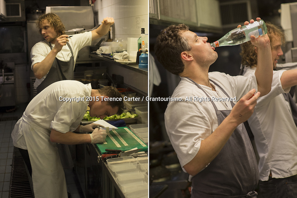 As key components of a dish was prepared, the chefs weighed and portioned every ingredient for two people ('2 pax' in chefs language) and the containers labelled carefully so that each section knew exactly what they had for service (left). Chef Beau (right) takes a huge swig of water — staying hydrated in a hot kitchen is a constant battle for chefs working such long hours. Copyright 2015 Terence Carter / Grantourismo. All Rights Reserved.