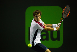 March 30, 2018 - Miami, Florida, United States - Pablo Carreno Busta, from Spain, in action against Alexander Zverev, from Germany, during his semi final match at the Miami Open in Key Biscayne. Zverev defeated Carreno Busta 7-6(4), 6-2 in Miami, on March 30, 2018. (Credit Image: © Manuel Mazzanti/NurPhoto via ZUMA Press)