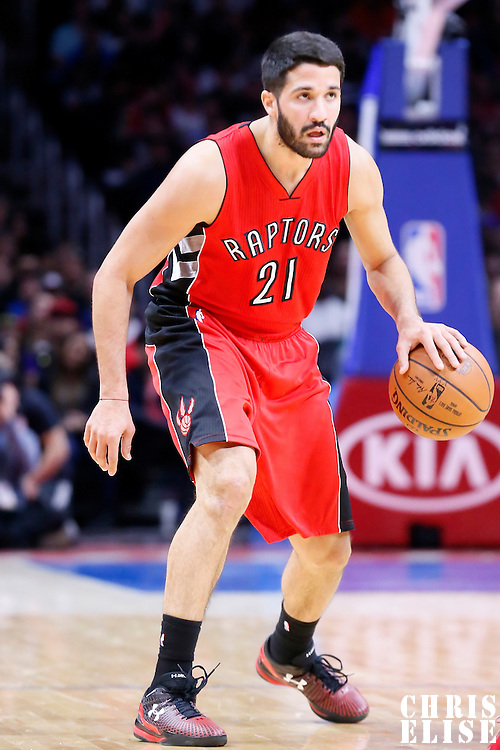27 December 2014: Toronto Raptors guard Greivis Vasquez (21) brings the ball up court during the Toronto Raptors 110-98 victory over the Los Angeles Clippers, at the Staples Center, Los Angeles, California, USA.