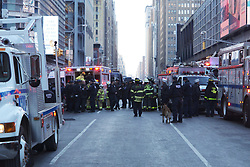 Police, Firefighters and Emergency responders at the scene of a explosion near the area of Port Authority and Times Square in New York, NY on December 11, 2017. (Julius Motal/Sipa USA)