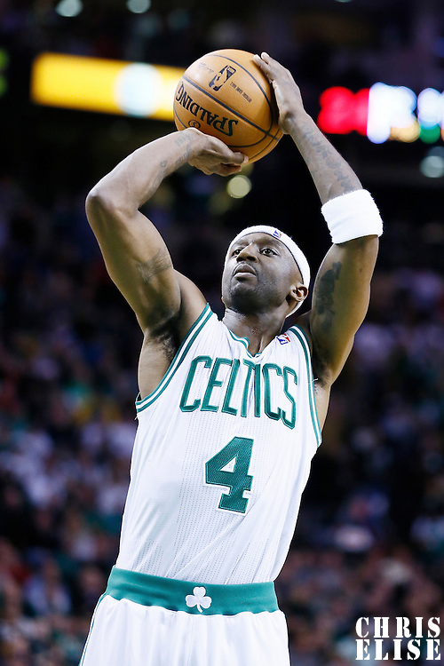 27 January 2013: Boston Celtics shooting guard Jason Terry (4) is seen at the free throw line during the Boston Celtics 100-98  2OT victory over the Miami Heat at the TD Garden, Boston, Massachusetts, USA.
