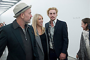 MICHAEL STIPE; SAM TAYLOR WOOD; AARON JOHNSON, Opening of new White Cube Gallery in Bermondsey. London. 11 October 2011. <br /> <br />  , -DO NOT ARCHIVE-© Copyright Photograph by Dafydd Jones. 248 Clapham Rd. London SW9 0PZ. Tel 0207 820 0771. www.dafjones.com.