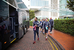 CARDIFF, WALES - Tuesday, October 7, 2014: Wales' Hal Robson-Kanu and Jake Taylor depart the team hotel for a training session at Dragon Park National Football Development Centre ahead of the UEFA Euro 2016 qualifying match against Bosnia and Herzegovina. (Pic by David Rawcliffe/Propaganda)
