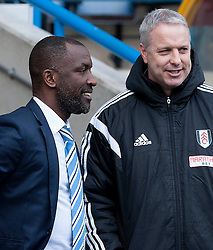 Huddersfield Town Manager, Chris Powell chats to Fulham Manager, Kit Symons - Photo mandatory by-line: Richard Martin-Roberts/JMP - Mobile: 07966 386802 - 21/03/2014 - SPORT - Football - Huddersfield - John Smith's Stadium - Huddersfield Town v Fulham - Sky Bet Championship