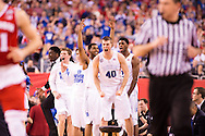 06 APR 2015:  Center Marshall Plumlee (40) of Duke University explodes with the bench against the University of Wisconsin during the championship game at the 2015 NCAA Men's DI Basketball Final Four in Indianapolis, IN. Duke defeated Wisconsin 68-63 to win the national title. Brett Wilhelm/NCAA Photos