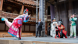 © Licensed to London News Pictures. 26/09/2016. London, UK. Members of the SuZhou Kun Opera theatre attend a press call at The Globe Theatre ahead of the 400th year anniversary special performance of The Peony Pavilion in memory of Tang Xianzu, the 16th century Ming dynasty's master playright, and William Shakespeare.  Held over three nights, the opera, known as China's Romeo and Juliet, will be performed at the Troxy theatre from 28 to 30 September.  Photo credit : Stephen Chung/LNP