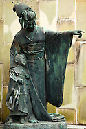 "Statue at Glover Garden of Chouchou-san aka Madame Butterfly- Puccini is well known in Nagsaki as composer of ""Madame Butterfly"" which was set in Nagasaki. Within the gardens stand the Glover Residence, the oldest Western style house surviving in Japan, statues of Puccini and Chou-Chou-san of Madame Butterfly fame,"