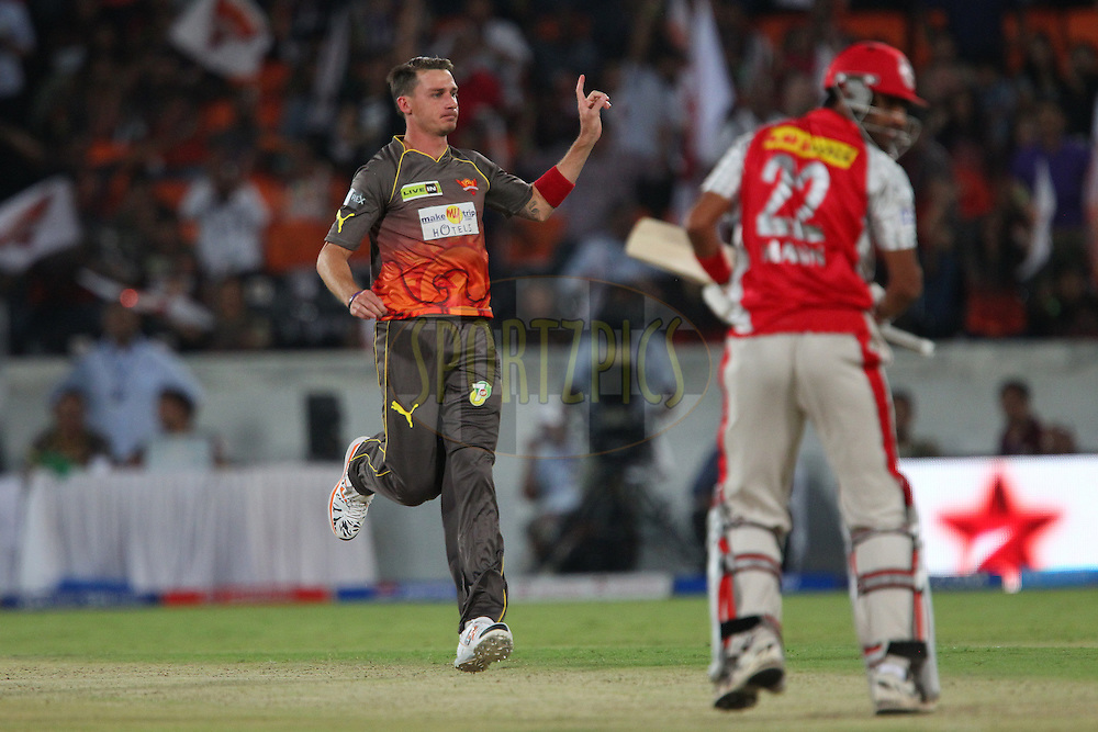Dale Steyn celebrates the wicket of Gurkeerat Mann Singh during match 25 of the Pepsi Indian Premier League between The Sunrisers Hyderabad and The Kings XI Punjab held at the Rajiv Gandhi International  Stadium, Hyderabad  on the 19th April 2013..Photo by Ron Gaunt-IPL-SPORTZPICS..Use of this image is subject to the terms and conditions as outlined by the BCCI. These terms can be found by following this link:..http://www.sportzpics.co.za/image/I0000SoRagM2cIEc