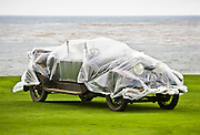 A 1922 Hispano H6B Brunn Dual Cowl Phaeton sits on the 18th fairway at the 2008 Pebble Beach concours de Elegance.