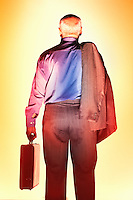Sweaty Middle-Aged Businessman carrying briefcase back view