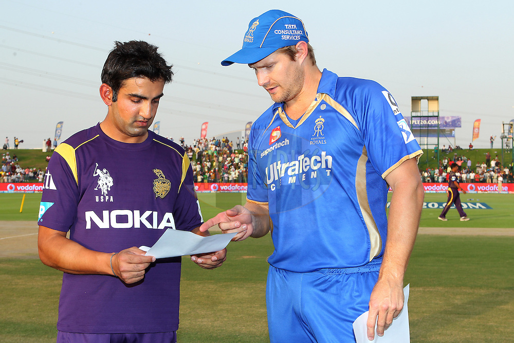 Gautam Gambhir captain of the Kolkata Knight Riders and Shane Watson captain of the Rajatshan Royals before the toss during match 19 of the Pepsi Indian Premier League 2014 Season between The Kolkata Knight Riders and the Rajasthan Royals held at the Sheikh Zayed Stadium, Abu Dhabi, United Arab Emirates on the 29th April 2014<br /> <br /> Photo by Ron Gaunt / IPL / SPORTZPICS