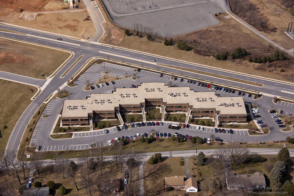 Aerial Photo of 11155 Dolfield Blvd in Owings Mills MD office park aerial photography by Jeffrey Sauers of Commercial Photographics