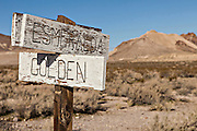Old street sign in the abandoned ghost town of Rhyolite, NV.
