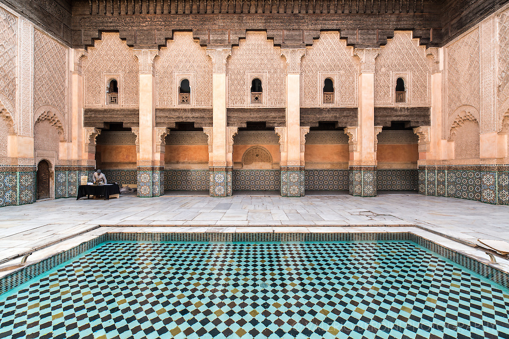 Madrasa court. The Ben Youssef Madrasa was an Islamic college in Marrakesh, Morocco. It is the largest Medrasa in all of Morocco. Closed down in 1960, the building was refurbished and reopened to the public as an historical site in 1982.