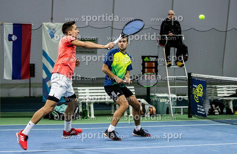 Bor Muzar Schweiger and Aljaz Jakob Kaplja playing final match during Slovenian men's doubles tennis Championship 2019, on December 29, 2019 in Medvode, Slovenia. Photo by Vid Ponikvar/ Sportida
