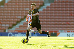 STOKE-ON-TRENT, ENGLAND - Wednesday, May 1, 2013: Liverpool's Daniel Trickett-Smith in action against Stoke City during the Premier League Academy match at the Britannia Stadium. (Pic by David Rawcliffe/Propaganda)