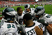 18 Jan 2009: Philadelphia Eagles running back Correll Buckhalter #28 in a huddle with A.J. Feeley, Brian Westbrook, Kyle Eckel, and Dan Klecko before the NFC Championship game against the Arizona Cardinals on January 18th, 2009. The Cardinals won 32-25 at University of Phoenix Stadium in Glendale, Arizona.