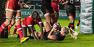 Rachael Burford celebrates scoring a try, England Women v Canada in an Autumn International match at The Stoop, Twickenham, London, England, on 21st November 2017 Final score 49-12