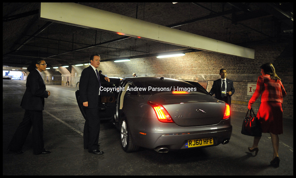 The Prime Minister David Cameron waits by his official car for his wife Samantha in an under ground car park of the Conference centre after delivering his speech to the Conservative Party Conference in Manchester, Wednesday October 5,  2011 Photo By Andrew Parsons/ i-Images