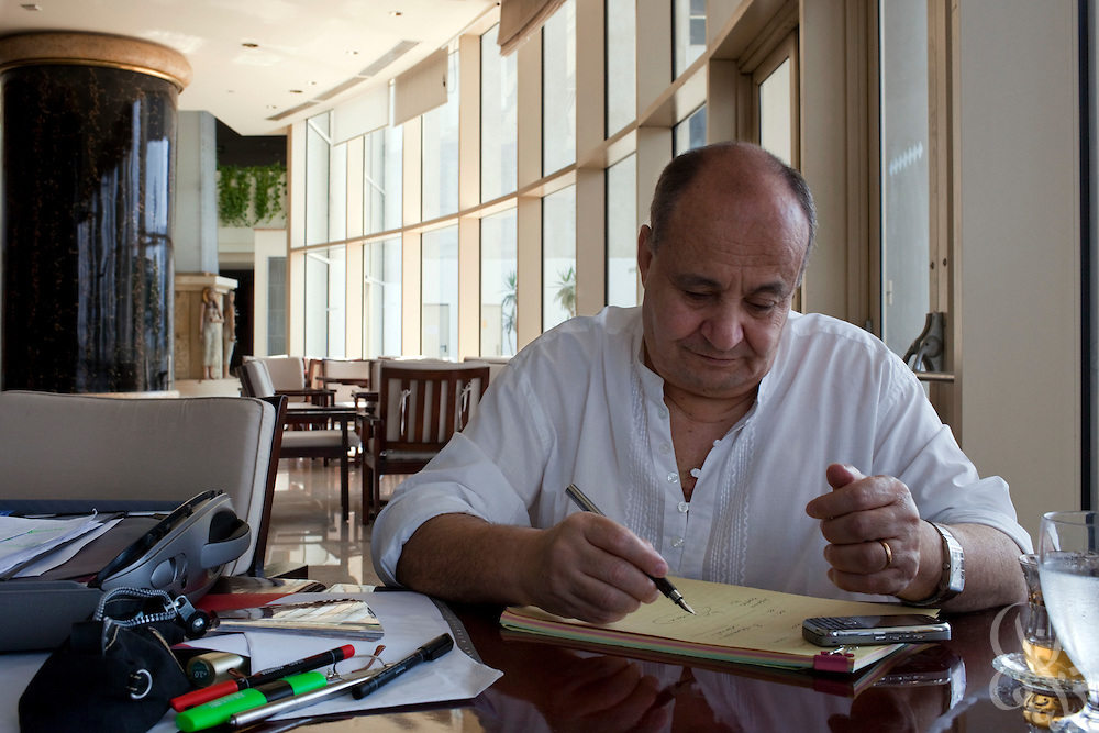 "Famed Egyptian screenwriter Waheed Hamed works at his favorite writing spot, a hotel overlooking the Nile in Cairo, Egypt August 14, 2010.  Hamed, a long time critic of fundamentalist movements, wrote the screen play for the controversial new Egyptian television Ramadan miniseries about the Muslim Brotherhood in Egypt called ""Al Gama'a"". (Photo by Scott Nelson, for the National)."