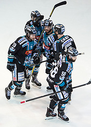 27.03.2018, Keine Sorgen Eisarena, Linz, AUT, EBEL, EHC Liwest Black Wings Linz vs EC Red Bull Salzburg, Halbfinale, 2. Spiel, im Bild v.l. Joel Broda (EHC Liwest Black Wings Linz),Andreas Kristler (EHC Liwest Black Wings Linz), Marc-Andre Dorion (EHC Liwest Black Wings Linz) feiern das 2 zu 0 durch Sebastien Piche (EHC Liwest Black Wings Linz) // during the Erste Bank Icehockey 2nd halffinal match between Black Wings Linz and Red Bull Salzburg at the Keine Sorgen Eisarena in Linz, Austria on 2018/03/27. EXPA Pictures © 2018, PhotoCredit: EXPA/ Reinhard Eisenbauer