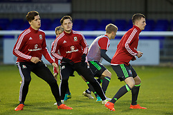 BANGOR, WALES - Saturday, November 12, 2016: Wales' Liam Cullem warms up before the UEFA European Under-19 Championship Qualifying Round Group 6 match against England at the Nantporth Stadium. (Pic by Gavin Trafford/Propaganda)