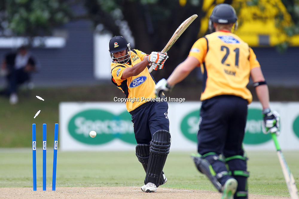 Jeetan Patel gets bowled by Mitchell McClenaghan during the Ford Trophy match between the Auckland Aces v Wellington Firebirds. Men's domestic 1 day cricket. Colin Maiden Park, New Zealand. Sunday 29 January 2012. Ella Brockelsby / photosport.co.nz