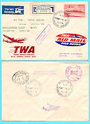 Inauguration flight TWA (Trans World Airlines) Lod to New York 1956