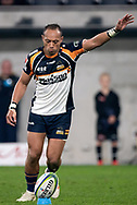 SYDNEY, AUSTRALIA - JUNE 08: Brumbies player Christian Lealiifano (10) kicks the ball at week 17 of Super Rugby between NSW Waratahs and Brumbies on June 08, 2019 at Western Sydney Stadium in NSW, Australia. (Photo by Speed Media/Icon Sportswire)