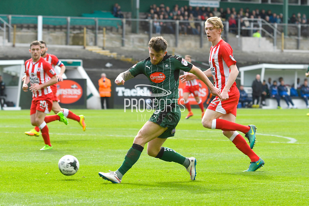 Matthew Kennedy (16) of Plymouth Argyle shoots at goal during the EFL Sky Bet League 2 match between Plymouth Argyle and Accrington Stanley at Home Park, Plymouth, England on 1 April 2017. Photo by Graham Hunt.