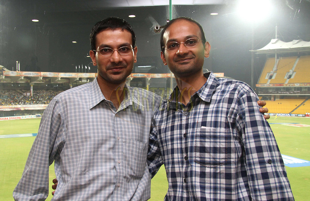 Karthik and Srivaths Balakrishnan during match 3 of the NOKIA Champions League T20 ( CLT20 )between the Chennai Superkings and the Mumbai Indians held at the M. A. Chidambaram Stadium in Chennai , Tamil Nadu, India on the 24th September 2011..Photo by Shaun Roy/BCCI/SPORTZPICS