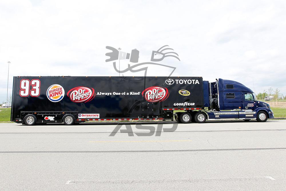 KANSAS CITY, KS - APR 19, 2012:  The BK Racing hauler waits to park  for the STP 400 at the Kansas Speedway in Kansas City, KS.