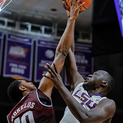 Jan 23, 2018; Baton Rouge, LA, USA; Texas A&M Aggies center Tonny Trocha-Morelos (10) blocks a shot by LSU Tigers forward Duop Reath (1) during the second half at the Pete Maravich Assembly Center. LSU defeated Texas A&M 77-65. Mandatory Credit: Derick E. Hingle-USA TODAY Sports