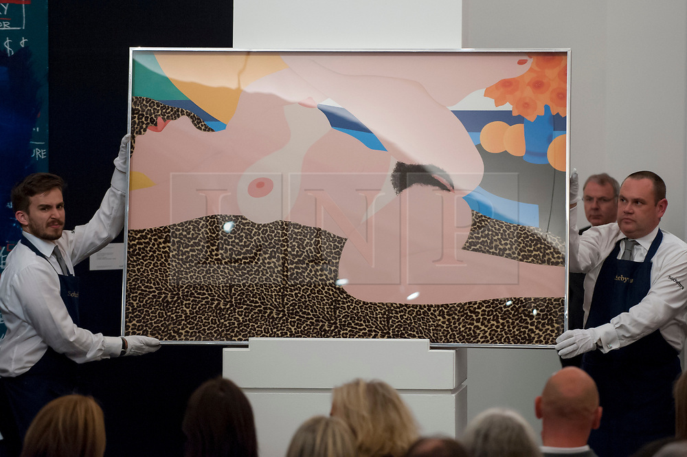 """© Licensed to London News Pictures. 28/06/2017. London, UK. """"Great American Nude #87"""", 1967, by Tom Wesselman sold for a hammer price of GBP1.35m (estimate GBP1.5-2m)at Sotheby's Contemporary Art evening sale in New Bond Street, which featured pioneering works from the Pop Art genre. Photo credit : Stephen Chung/LNP"""