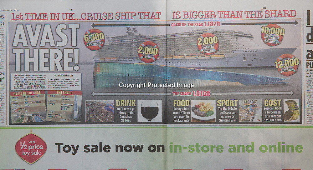 Royal Caribbean International's Oasis of the Seas Southampton visit cuttings.<br /> The Sun 161014