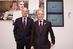 Dimension Data Results from BT .Sir Peter Bonfield,(right) Chief Executive, Sir Iain Vallance, Chairman, November 9, 2000. Photo by Andrew Parsons / i-Images.