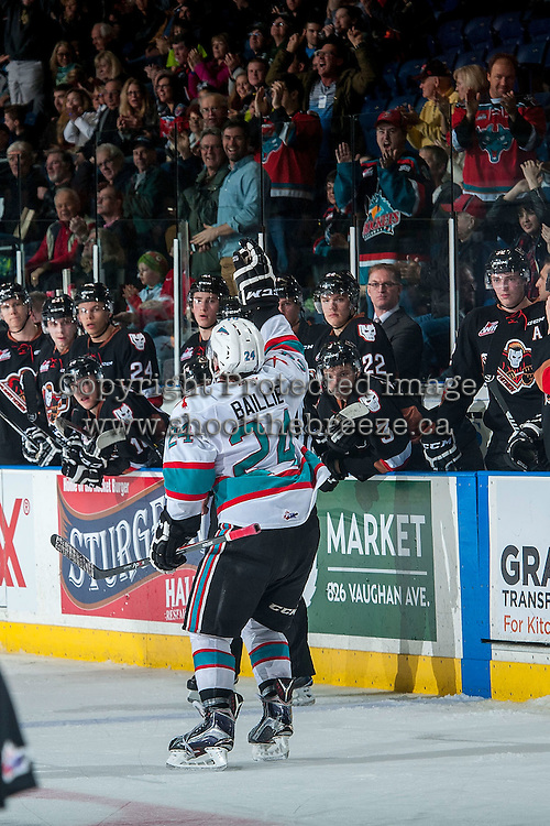 KELOWNA, CANADA - FEBRUARY 6: Tyson Baillie #24 of Kelowna Rockets celebrates his 30th goal against the Calgary Hitmen on February 6, 2016 at Prospera Place in Kelowna, British Columbia, Canada.  (Photo by Marissa Baecker/Shoot the Breeze)  *** Local Caption *** Tyson Baillie; milestone;