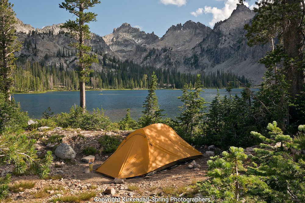 ID00430-00...IDAHO - Campsite at Alice Lake in the Sawtooth Wilderness Area.