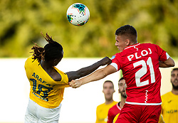 Ibrahim Arafat Mensah of Bravo vs Aljaž Ploj of Aluminij during football match between NK Bravo and NK Aluminij in 5th Round of Prva liga Telekom Slovenije 2019/20, on August 9, 2019 in Sports park ZAK, Ljubljana, Slovenia. Photo by Vid Ponikvar / Sportida