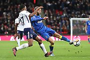 AFC Wimbledon defender George Francomb (7) with a shot on goal during the The FA Cup 3rd round match between Tottenham Hotspur and AFC Wimbledon at Wembley Stadium, London, England on 7 January 2018. Photo by Matthew Redman.
